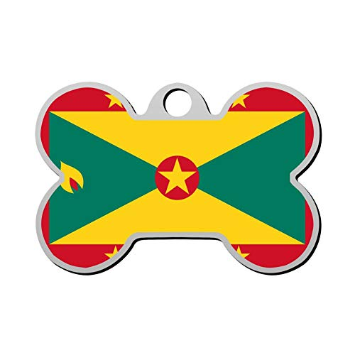 WWQE-47 Grenada Flag Custom Pet' Names & ID Number Front & Back Tags Personalized Dog & Cat Tags Bone Shape