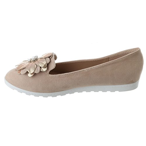 UK Fiore Misura Basse Nuovo Sintetico On Camoscio Diamante Slip Loafers Ballet Miss Donna Image Basse da con Beige Scarpe Ovx5CqX1w