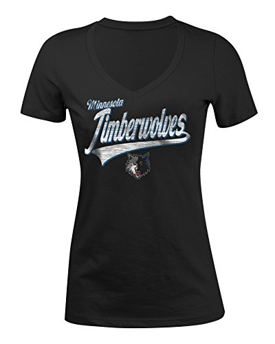 NBA Minnesota Timberwolves Women's 100% Cotton Baby Jersey Short Sleeve V-Neck Tee, Medium, Black