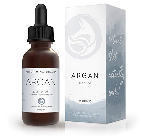 Foxbrim Pure Organic Argan Oil for Hair, Skin, Face & Nails - 100% Natural From Morocco - Virgin...