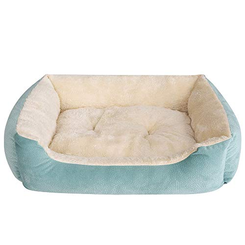(JEMA Rectangle Dog Bed - Lounger for Dogs & Cats with Self Warming Cozy Inner Plush Cushion, Non Slip Waterproof Bottom, Square Medium Cuddler Pet Bed)