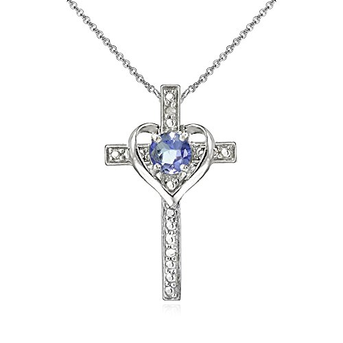 Heart Cross Gemstone - Sterling Silver Tanzanite Cross Heart Pendant Necklace for Girls, Teens or Women