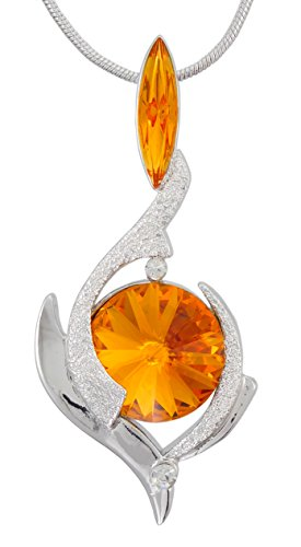 William Wang Designs November Birthstone Color Pendant Necklace with Two Swarovski Crystals Set. Made in USA (8130TO)