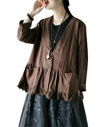 - YESNO EB8 Women Cause Loose Cropped Blouse Jacket 100% Linen Button Down Gathered Waist Lace Hem Pocket