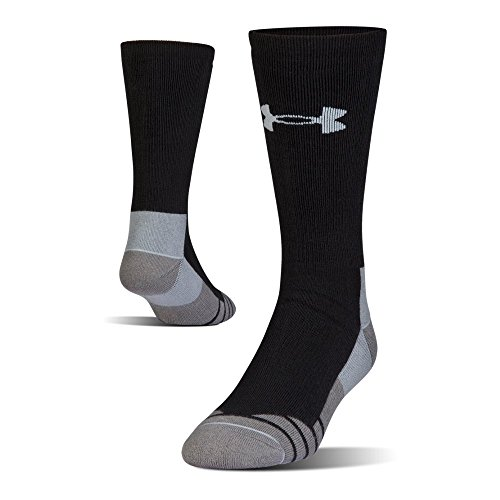 (Under Armour Hitch Heavy 3.0 Boot Socks, 1-Pair, Black/Steel, Shoe Size: Mens 8-12, Womens 9-12)