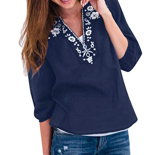 〓COOlCCI〓Women's Summer Boho Embroidered V Neck Short Sleeve Casual Cotton and Linen T-Shirt Tops Loose Blouse Shirt Blue