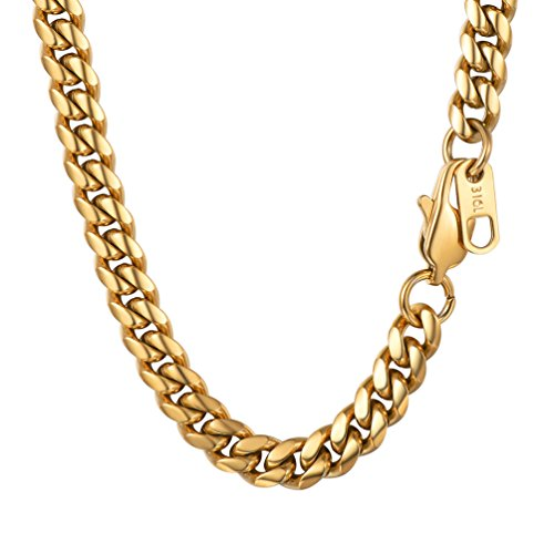 PROSTEEL Necklace Chain,Mens Jewelry,18K Gold Plated,Hip Hop Jewelry,Flat Curb Chain,26inches