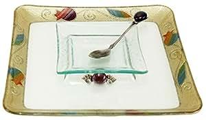 "L'Shanah Tovah Happy&Healthy Honey Dish Plate Square Design - Rainbow - Tray 9.5""X9.5"" D - Bowl 4.5X4.5"""