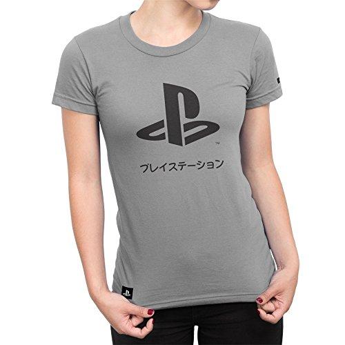 Camiseta Playstation Feminina Katakana - Cinza - M