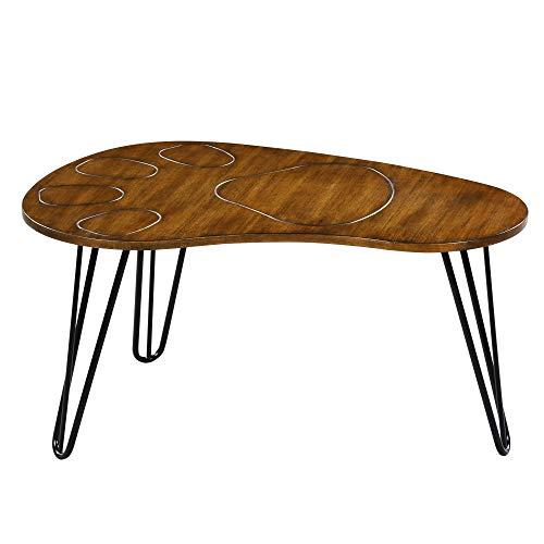 (SLEEPLACE SVC18TB08S Wood Boomerang Design Coffee Table Rustic Brown )