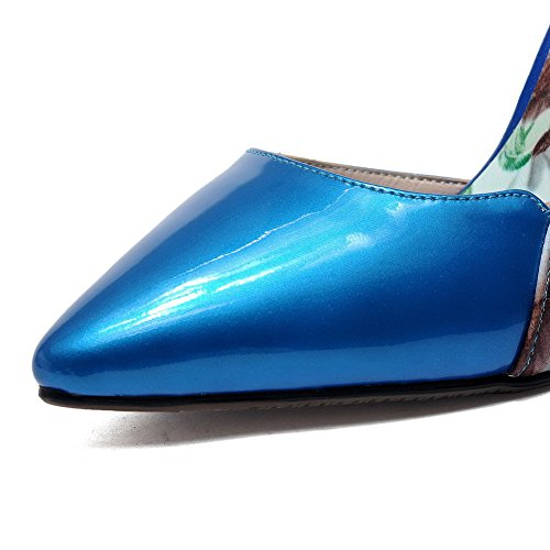 AmoonyFashion Womens Pull-On Pointed Closed Toe High-Heels Patent Leather Assorted Color Pumps-Shoes Blue C7hCMdi0CZ