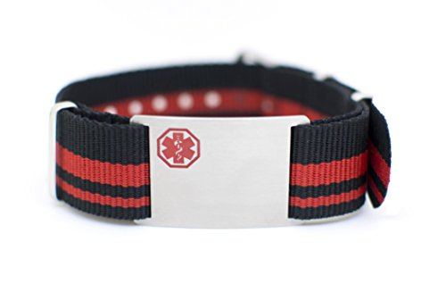 Stripe NATO Nylon with Plaque (Black/Red) DTJ-3641 from Doc Tock