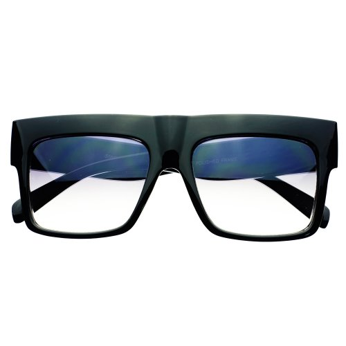 Celebrity Thick Framed Retro Vintage Style Flat Top Sunglasses Shades (Shiny Black / Light Gray - Glasses Framed Thick For Men