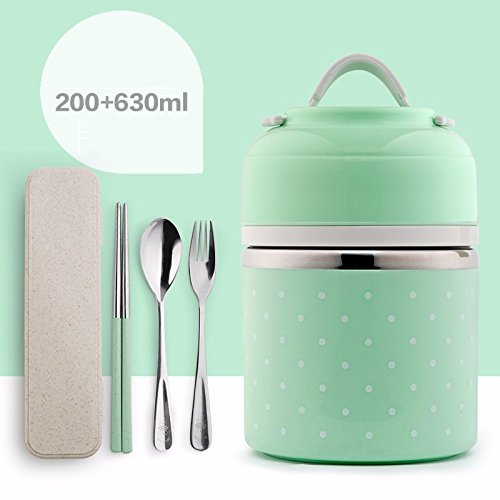 Lovely stainless steel lunch box, double layer, 2 compartment, student adult bento box, insulated portable compartment lunch box,Blue B,Small aabby