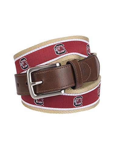 (Collegiate Collection Men's NCAA College Ribbon Overlay Belt, south carolina red,)