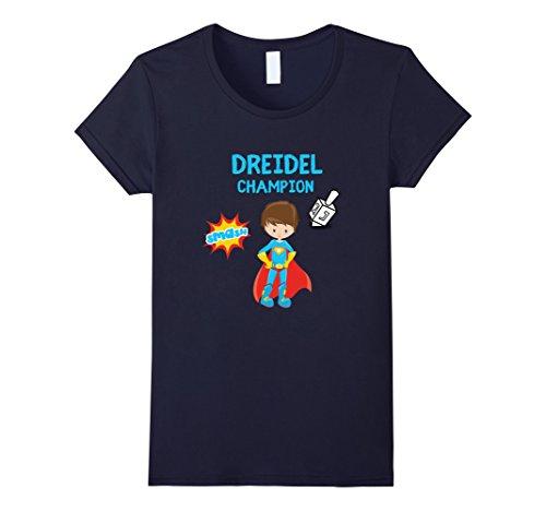Womens Boys Hanukah Dreidel Spinning Top Shirt Gift Lights For Kids Small Navy