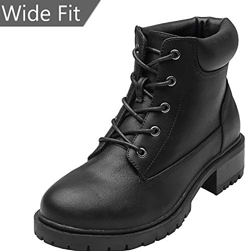 (Women's Wide Width Ankle Boots - Low Chunky Heel Foldover Lace up Martin Boots,Warm Ankle Booties.(180611 Black 8.5WW))