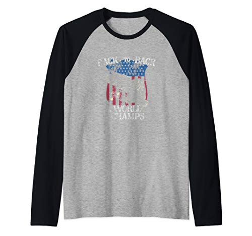 USA Back to Back World Champs Shirt Eagle Soaring America  Raglan Baseball Tee