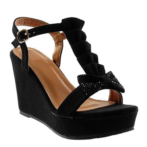 10 Con Moda Strass Nodo Nero Scarpe Cinturino Sandali Angkorly Volante Cm alla caviglia Donna Cinturini wBxqyS74