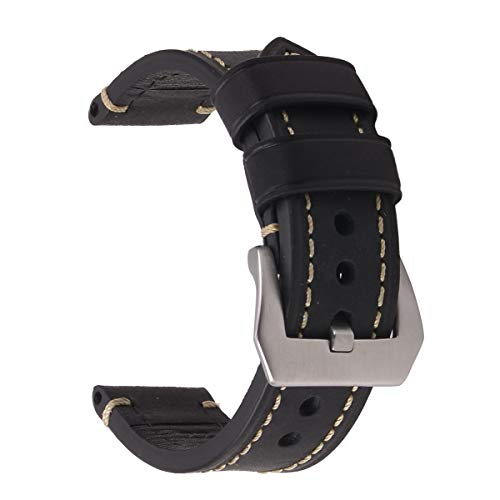 EACHE 26mm Watchband,Crazy Horse Genuine Leather Handmade Watch Replacement Strap Black-Silver Hardware Belt Wrist Unisex Watch