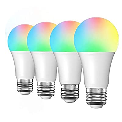 Smart Light Bulb Compatible with Alexa Google Home IFTTT, Luntak Dimmable Color Changing Alexa Light Bulbs, 60W Equivalent no Hub Required A19 E26 800 Lumens 4 Pack