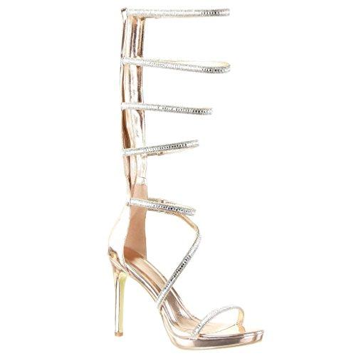 Sandals Heel Sexy Champagne Women's Gladiator Shoes Stiletto High Thong Angkorly Pump 11 Court Shoes Fashion Stiletto Multi cm Shiny Straps F1zaxfqt
