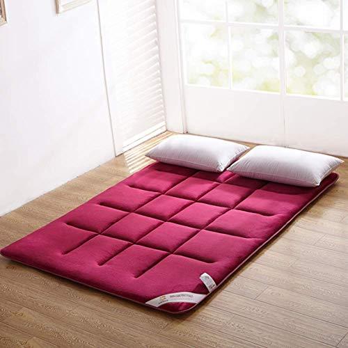 - V-mix Floor Futon Mattress Japanese Twin Sleeping Pad Tatami Mat Bed Roll Up Mattress Flannel Topper Cover