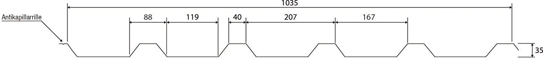 St/ärke 0,50 mm Trapezblech Material Stahl Beschichtung 25 /µm Profilblech Profil PS35//1035TR Dachblech Farbe Wei/ßaluminium