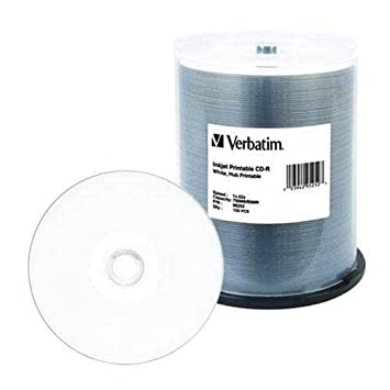200 Verbatim 52 x CD-R 80 min 700 MB White Inkjet Hub imprimible ...