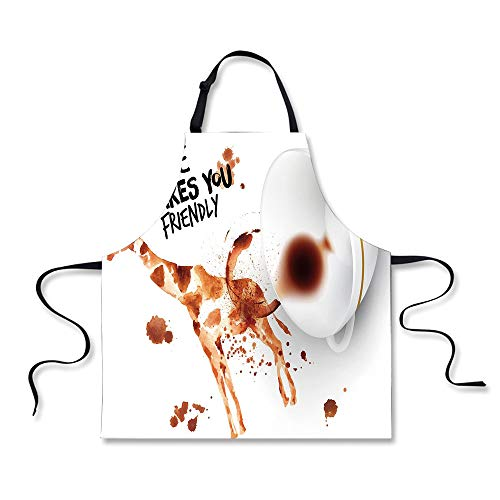 BBQ Apron,Coffee Art,Be Outgoing and Sociable Inspiration Hot Drink Friendly Giraffe Figure,Brown Orange Black, Apron.29.5