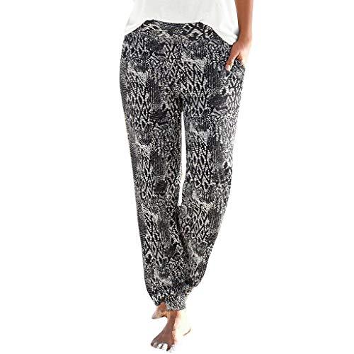 Trousers Easy - UOFOCO High Waist Printing Easy Trousers Women Long Pants Sandy Beach Pants Black