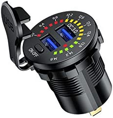 avec Interrupteur et Couleur Voltm/ètre pour Motos,Voitures,Bateaux,VTT,Bus YGL Chargeur USB QC3.0 Voiture de Moto,12//24V Prise de Chargeur Double USB /étanche