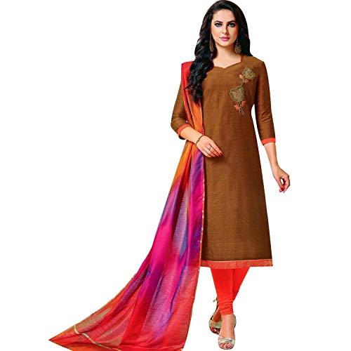 - Readymade Raw Silk Handworked Salwar Kameez with Banarasi Dupatta