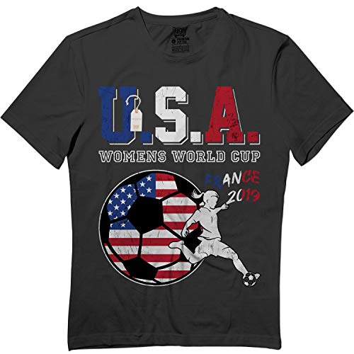Champ Football Jersey - USA Women's Soccer France 2019 USA Flag Champs Jersey Tshirt Black