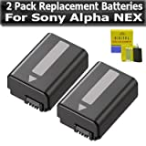 2 Pack Replacement Batteries For Sony Alpha a55, a33, SLT-A33, SLT-A55, NEX-3, NEX-5, NEX-5N, NEX-5R, NEX-C3, NEX-7 SLR NP-FW50 Batteries 1500 mAH Each + Lens Cleaning Kit