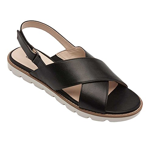 Leather Shoes Slingback (PIC/PAY Cayden Women's Sandals - Leather Slingback Flat Sandal Black Leather 8.5M)