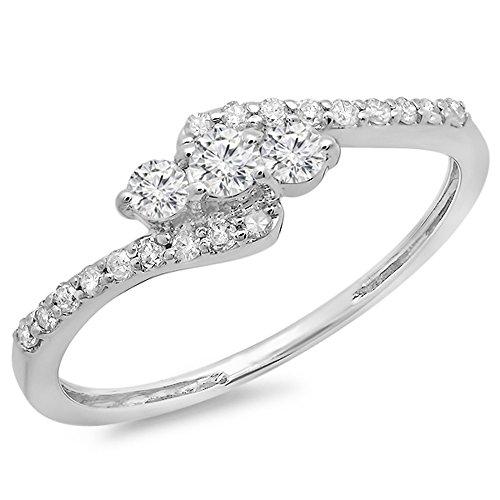 Dazzlingrock Collection 0.33 Carat (ctw) 14k Round Diamond Ladies Swirl Engagement 3 Stone Bridal Ring 1/3 CT, White Gold, Size 7 ()