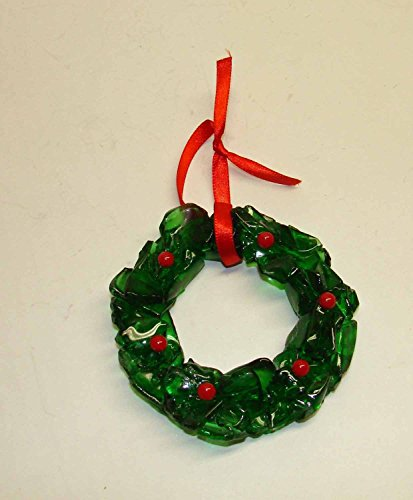 Christmas Holly Wreath - Recycled Green Bottle Glass Ornament - Recycled Glass Ornaments