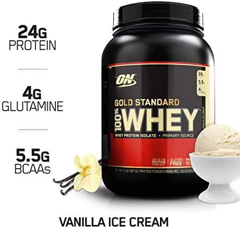 Optimum GOLD STANDARD 100% Whey Protein Powder From Whey Isolates, Vanilla Ice Cream - 0.91 kg