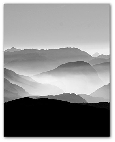 Mountain Print, Black and White Nature Art, 8 x 10 Inches, ()
