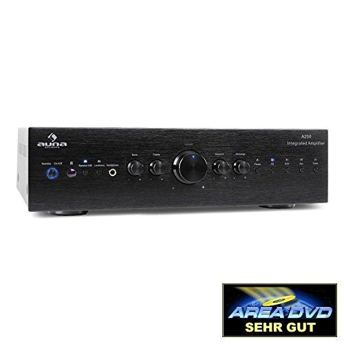Auna CD708 Stereo-Verstärker HiFi Verstärker (125W RMS, 5 Stereo-Cinch-Line-Eingänge, AUX-IN, Fernbedienung) schwarz