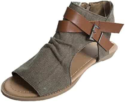 33c21ee7b82 Fullfun Women s Criss Cross Backless Cutout Summer Flat Heel Solid Ankle  Strap Slipper Sandals