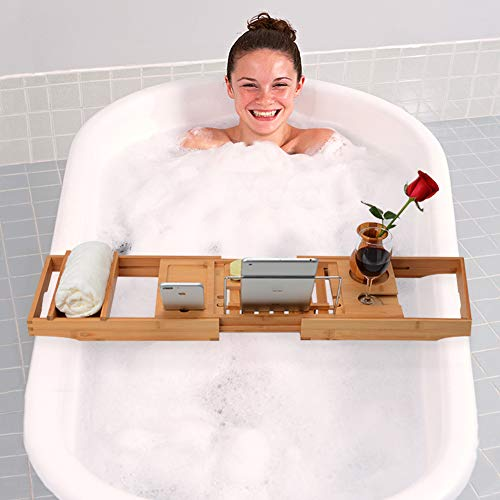 Domax Bathtub Caddy with Wine Glass Holder Adjustable Book Stand Extendable Non Slip Sides Bamboo Bath Tray by Domax (Image #1)