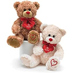 """Valentine's Day Teddy Bears - Set of Two - One Tan, One White - Features Red Ribbon, """"Be Mine"""" Heart and Embroidered Heart on Foot. 10 inches tall"""