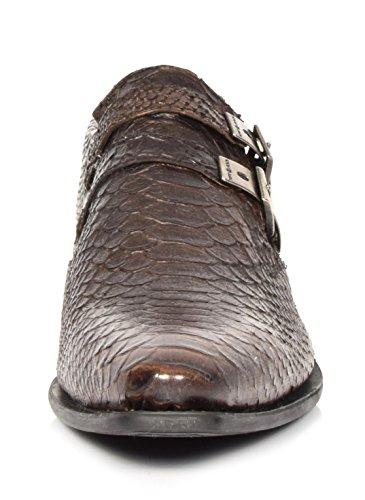 Mannen Slangenhuid-print Lederen Lage Schoenen Nieuwe Rock Smart Casual Wees Schoen Schoenen Brown - A12246s32