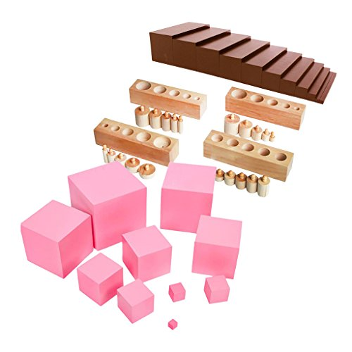 MonkeyJack Montessori Sensorial Family Set Brown Stair+Pink Tower+Cylinder Blocks Toy
