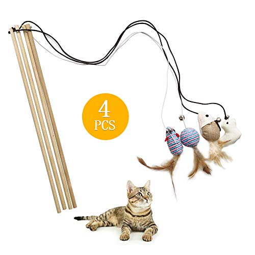 Cat Kitten Teaser Toys Natural Linen Wood Rod,Mouse,Bird,Feather,Ball of Yarn,Blue Balls Toys for Puppy Kitty Cat,Set of 4