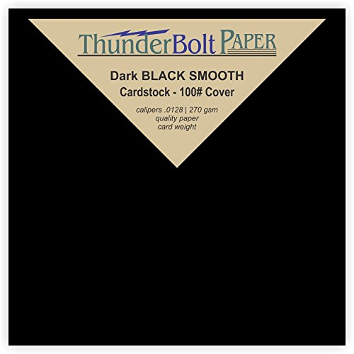 100 Dark Black Smooth Card Sheets - 100# (100 lb/Pound) - 4 X 4 inches Small Square Card Size - Cover Weight Fine Paper for Quality Results on a Smooth (Stock Square)