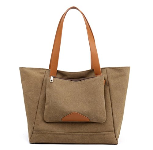 Casual Brown Everyday Women's Canvas Bag Hobo Purse dTfqq8w