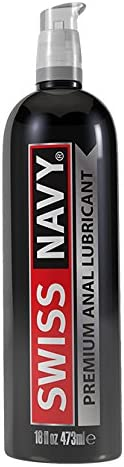 Swiss Navy Premium Silicone-Based Personal Lubricant & Anal Lubricant Sex Gel for Couples, 16 Oz.